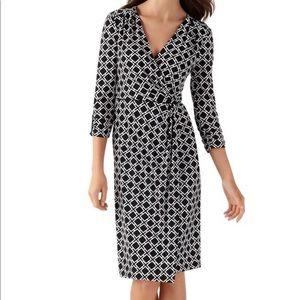 WHBM Geo Print Faux Wrap-Front Dress